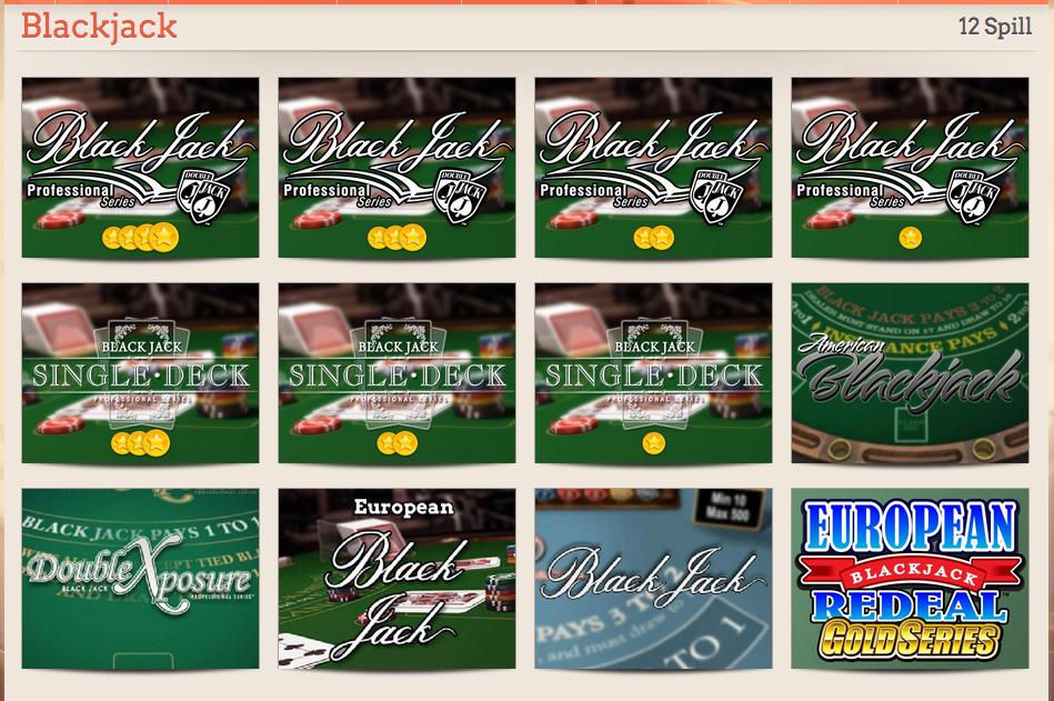 De ulike blackjack variantene hos Leo Vegas Casino.