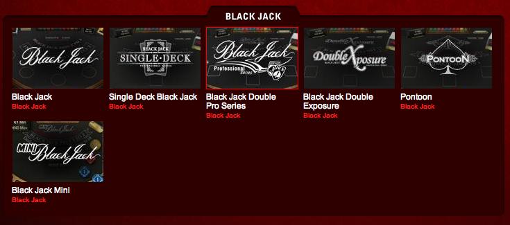 Utvalget av ulike typer blackjack hos Betsafe Casino Red