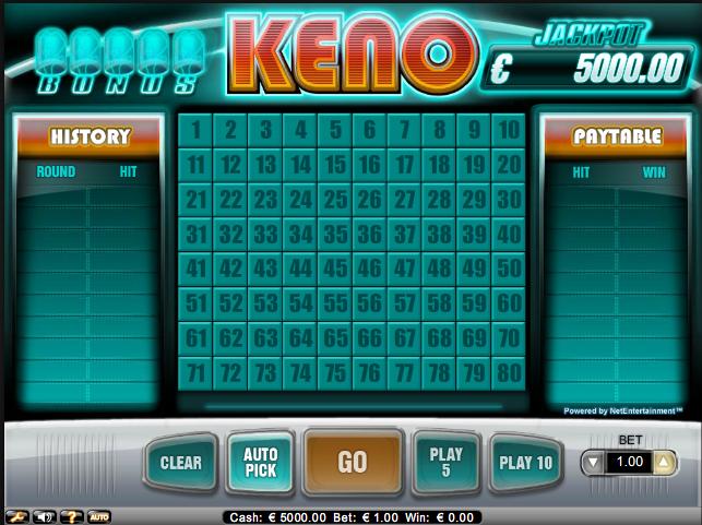 Keno hos Net Entertainment - Finnes hos de fleste norkse online casinoer.